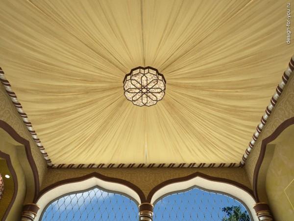 Куполообразная форма с элементами драпировки придаст комнате неповторимый экзотический колорит и изящество.