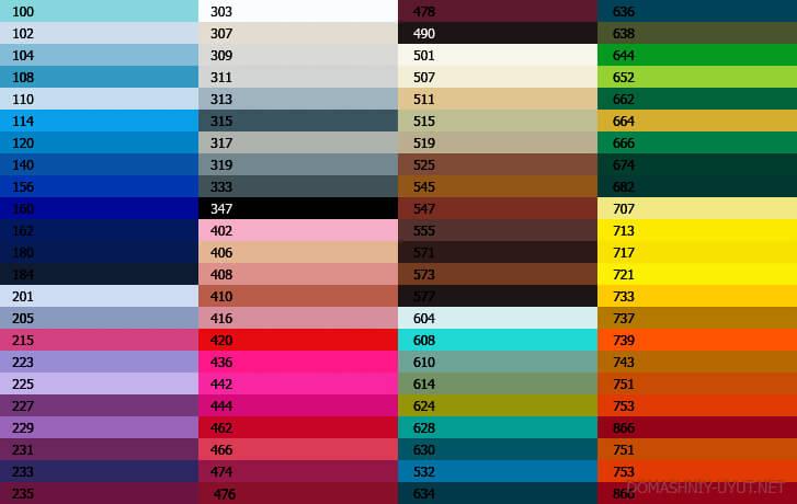 Для глянца доступен весь спектр с многочисленными оттенками.