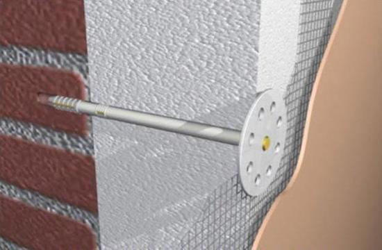Схема крепления пенопласта для стен на грибки-дюбели