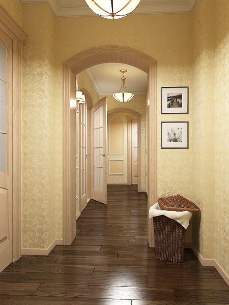 Люстры и бра в интерьере коридора выглядят лаконично и сдержанно.