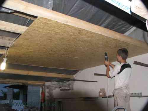 Установка на потолок осб