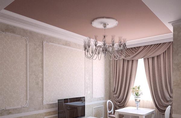 Матовое потолочное покрытие отлично вписывается в классические интерьеры