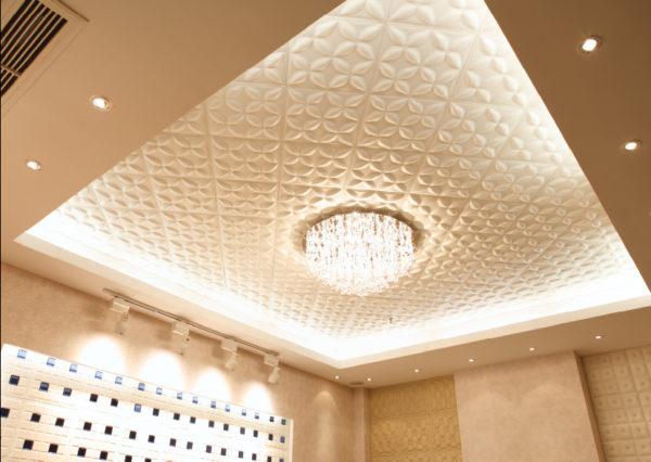 МДФ потолок из 3D панелей.