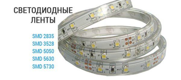 Модельный ряд светодиодных лент по уровню яркости.