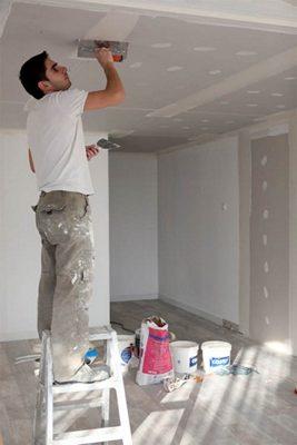 Шпаклевка потолка.