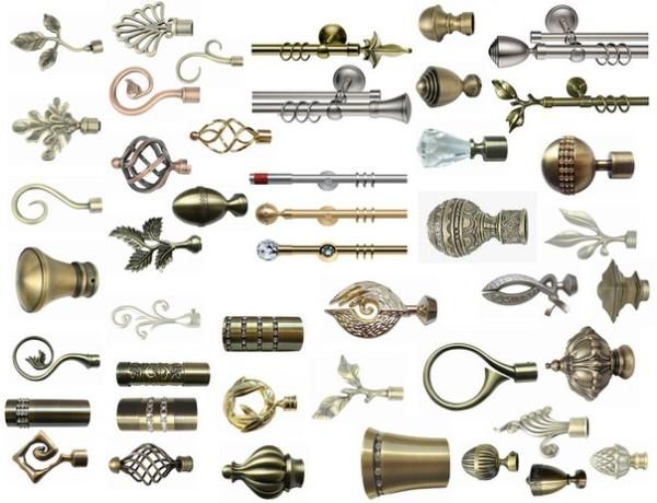 На фото представлены литые и кованые наконечники для металлических карнизов