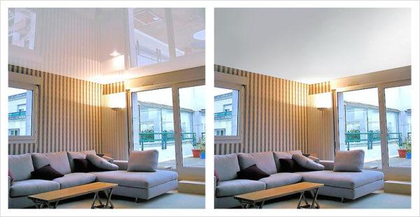 На фото: разница восприятия помещения с глянцевым и матовым потолком