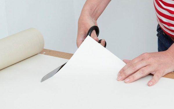Нарезая полосы ножницами или ножом