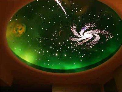 Натяжной потолок со звездами и фотопечатью