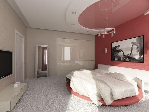 Потолок в спальне натяжной, розовый