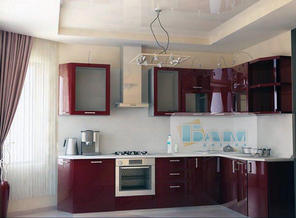 Двухуровневые натяжные потолки в кухне