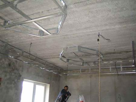 Более сложный каркас двухуровневого натяжного потолка
