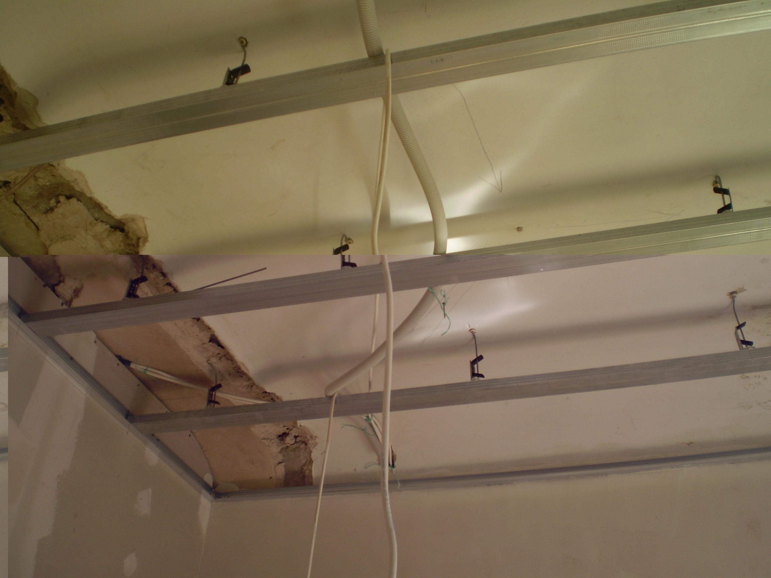 Несущие, направляющие профили вставим в стартовый каркас, закрепленный по периметру потолка.