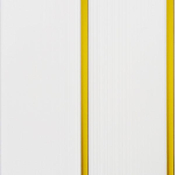 Образец панели двухсекционной белого колера с двумя золотистыми вставками