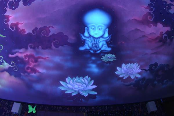 Один из вариантов росписи потолка флуоресцентной краской