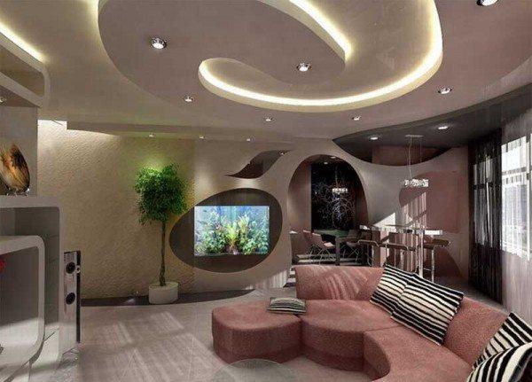 Оформление подвесного потолка в гостиной в виде спиральной абстракции