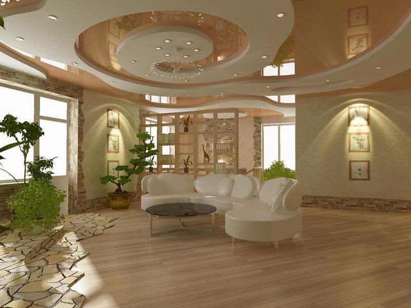 Потолок из гипсокартона в гостиной: варианты оформления и монтаж