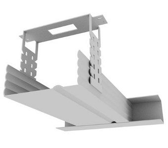 Схема крепления планок подвесами к потолку и направляющему профилю