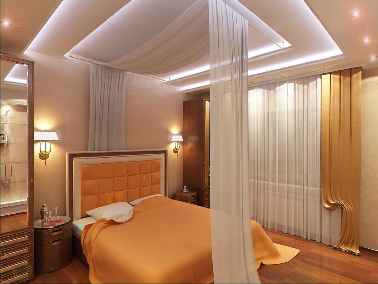 Многоярусный подвесной потолок с подсветкой светодиодами