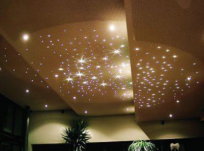 Декоративная подсветка потолка из гипсокартона «звездное небо»