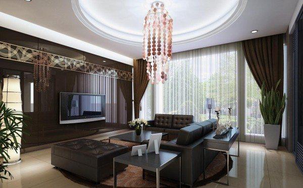 Двухуровневые гипсокартонные потолки в зал с кругом посредине
