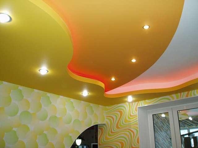 Подвесной потолок в двух уровнях из гипсокартона