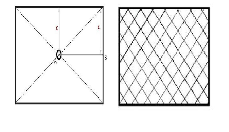 Разметка при укладке рядами (слева) и диагонально (справа)