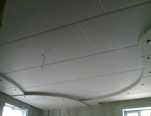 Обшивка гипсокартоном подвесного потолка с округлыми элементами