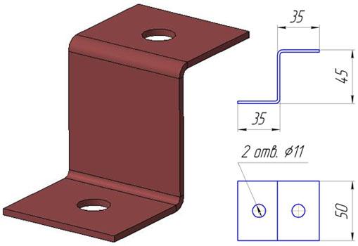 Специальный оцинкованный подвес пп2 используем при креплении к потолку шпильки.