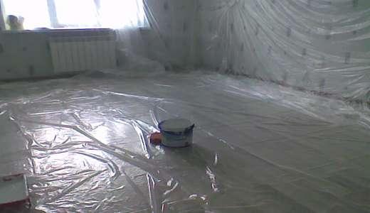 Помещение, подготовленное к покраске потолка