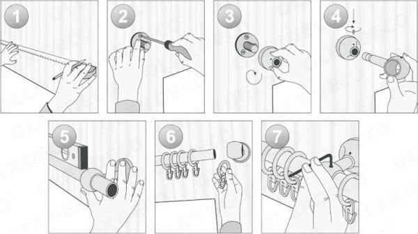 Пошаговый процесс установки стенового карниза.