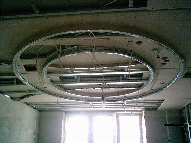 Каркасное основание под сложный двухуровневый потолок из гипсокартона