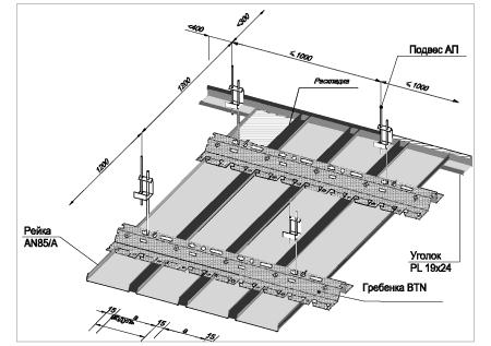потолки реечные для кухни
