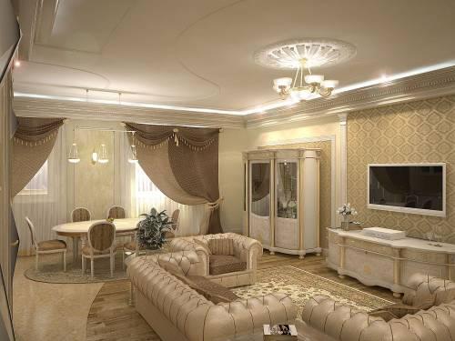 Потолок в гостиной из гипсокартона дизайн фото