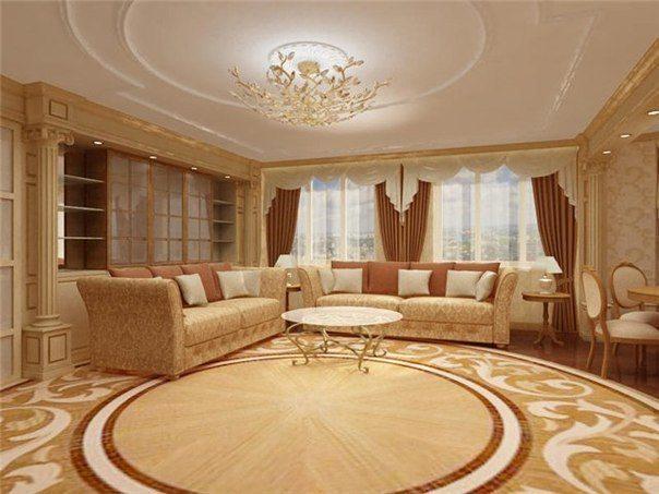 Потолок с ненавязчивой лепниной в классическом интерьере