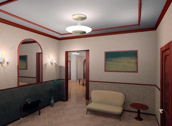 Потолочная люстра идеальна для квадратной комнаты.