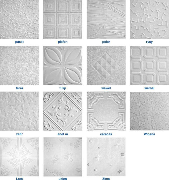 Пенопластовая плитка. Цвет, размеры и форма одинаковы, различается лишь фактура поверхности.