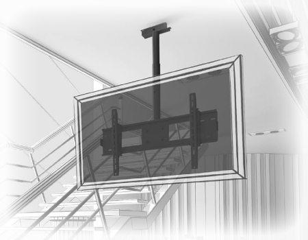 Потолочный односторонний кронштейн для ЖК панелей с мах нагрузкой до 200 кг