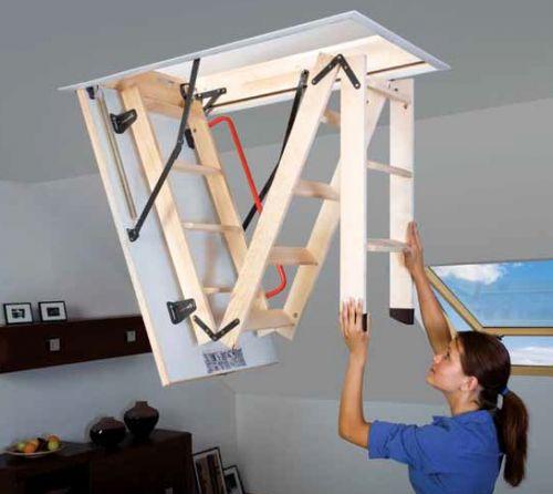 Складная лестница с люком на чердак