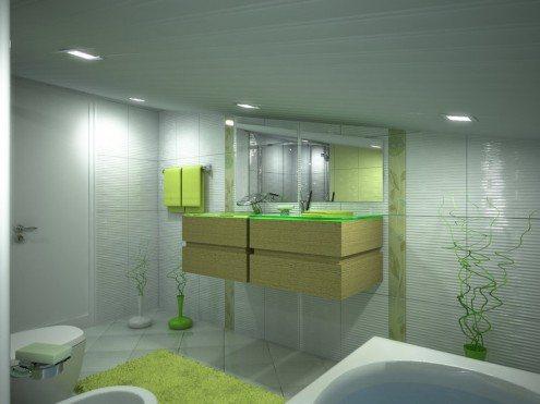 Чтобы визуально увеличить ванную, выбирайте потолочные панели светлых и теплых оттенков.