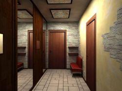 Акцент света на одной и зеркало на противоположной стене сделают узкий коридор более широким
