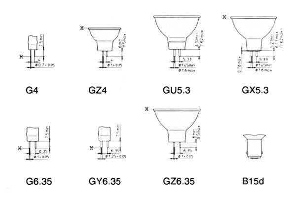 Схемы наиболее распространенных потолочных галогенных светильников