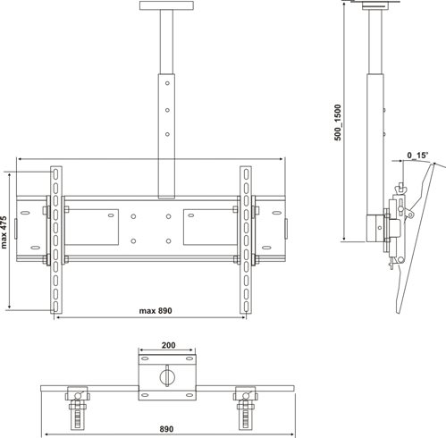 Технические характеристики типового потолочного кронштейна на упаковке