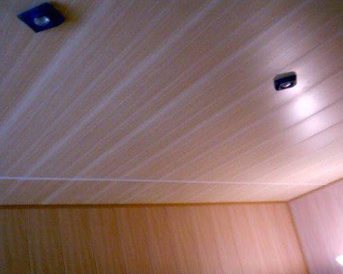 Потолок, отделанный пластиковыми панелями