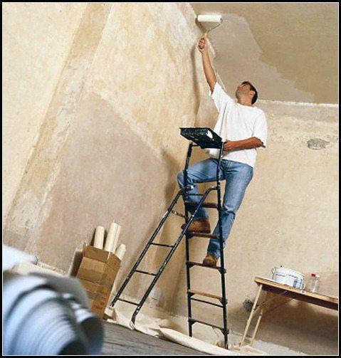 Побелка потолка в маленькой кухне