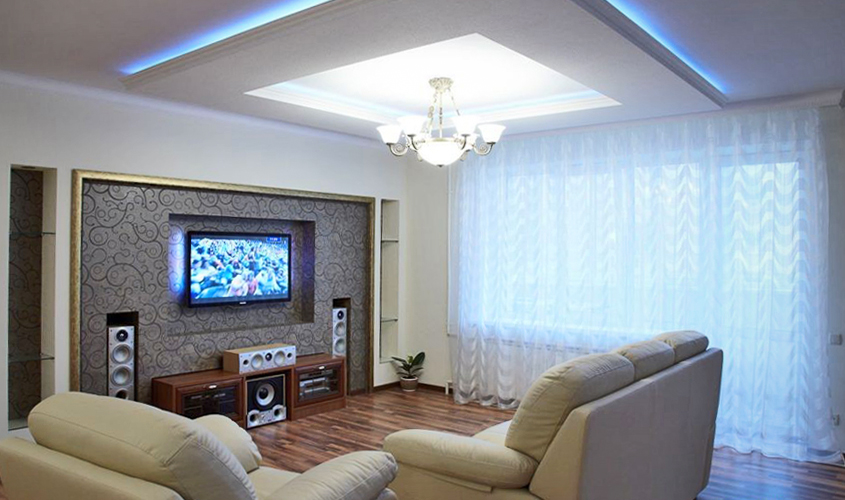 Потолки из гипсокартона фото для гостиной своими руками