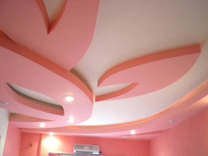 Пример фигурного многоуровневого навесного потолка
