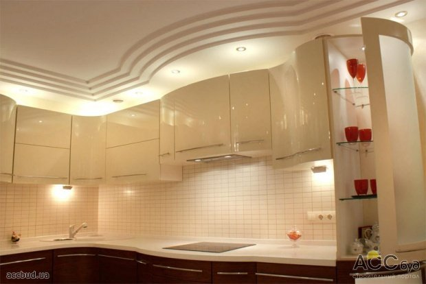 Потолок из гипсокартона своими руками кухня