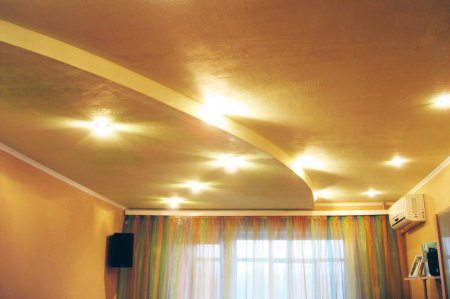 Простые двухуровневые потолки для гостиной из гипсокартона