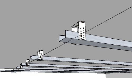 а что, однако, нам нужно лишь разметить расположение подвесов. Они будут крепиться к потолку с шагом 60 сантиметров вдоль всех профилей. <strong srcset=